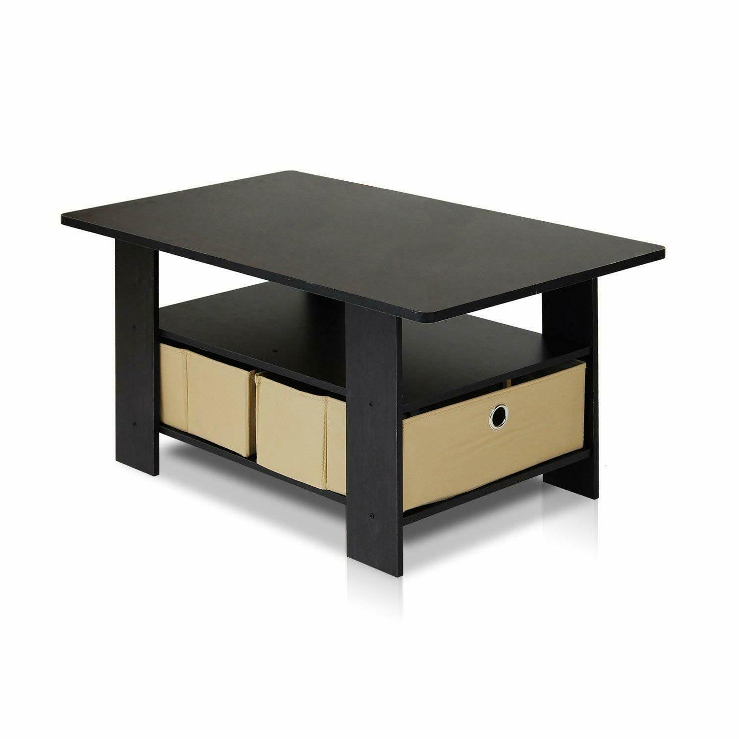 coffee table with bins espresso brown 11158ex