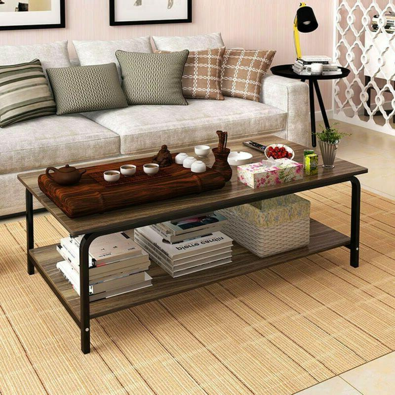 Industrial Coffee Table With Storage Shelf For Living Room W