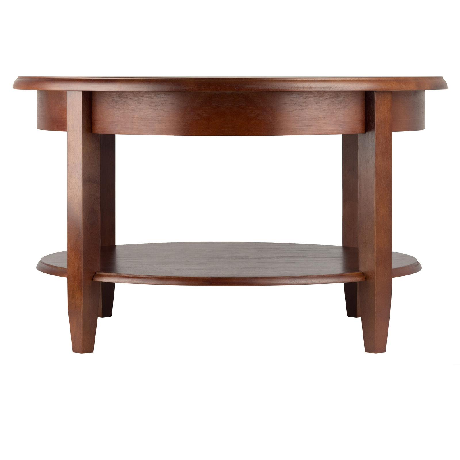 Winsome Wood Concord Round Coffee Table Walnut Finish Drawer