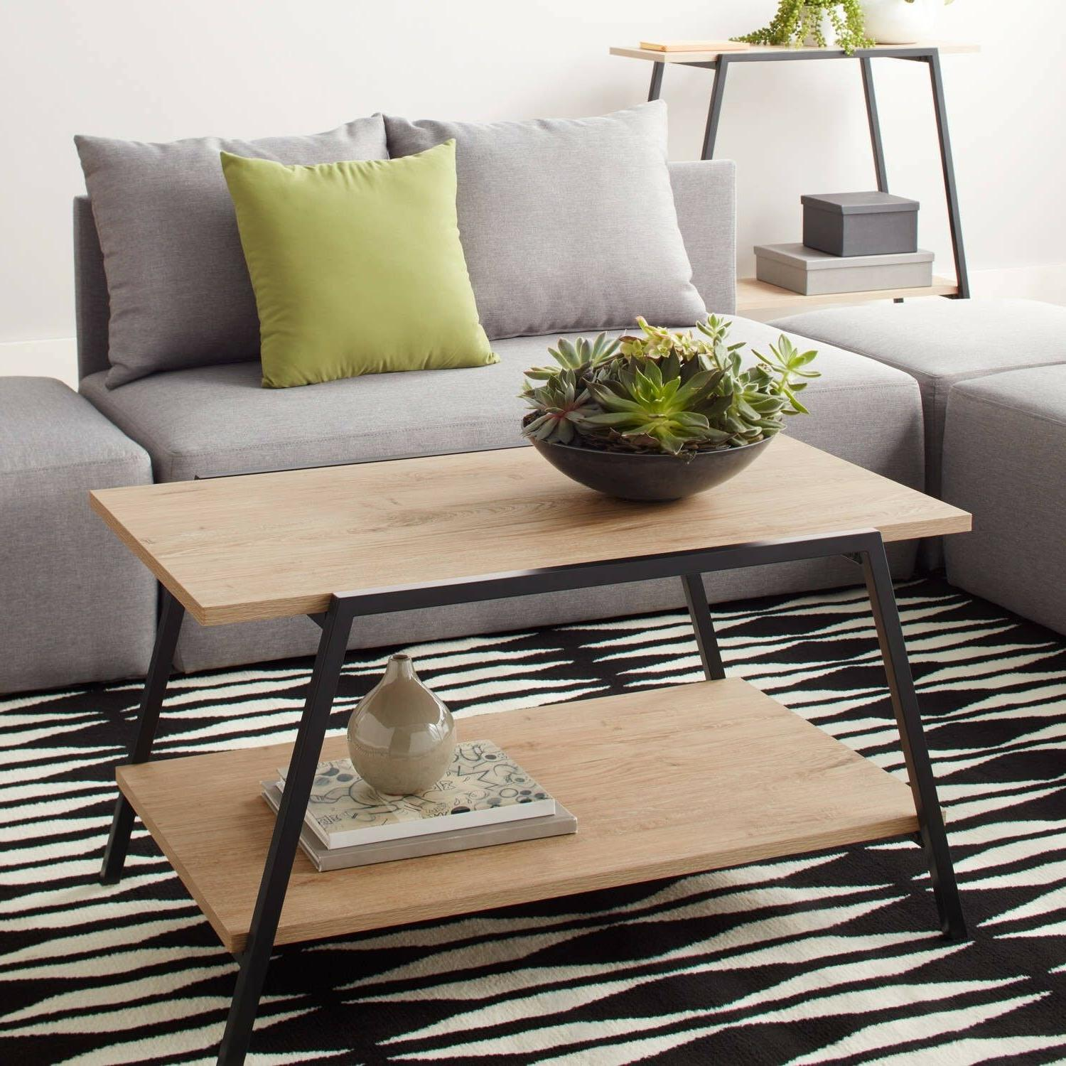 Mainstays Conrad Coffee Table Black Frame Wood for Modern Li