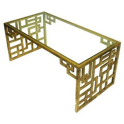contemporary asian fretwork coffee table gold iron