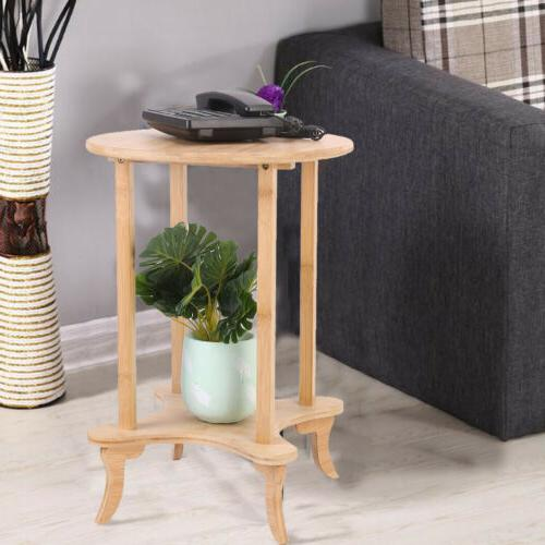Corner Wood Coffee Table Round End Tables 2 Tiers