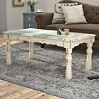 Cottage Coffee Table Distressed White Blue Top White Brown B
