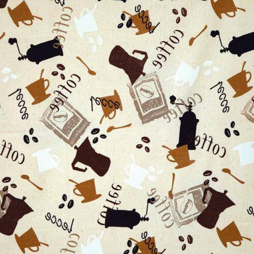 COTTON UPHOLSTERY COVERING TABLE TOP FABRIC COFFEE CAFE INTE