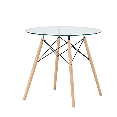 dining table round clear glass