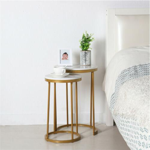 Double Round Table Gold Frame Side Bedside Table Living Room