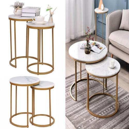 Double Round Table Nest Side Bedside Living