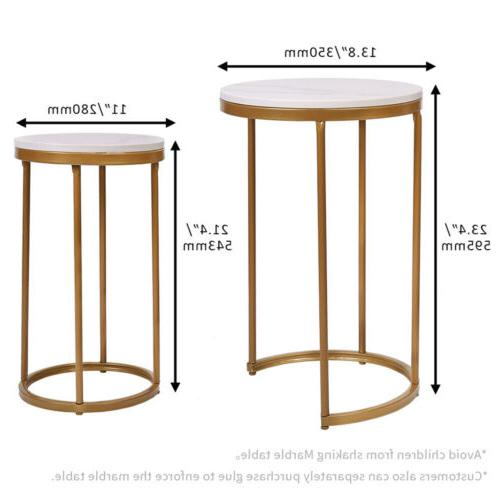 Double Marble Table Gold Nest Side Table Room