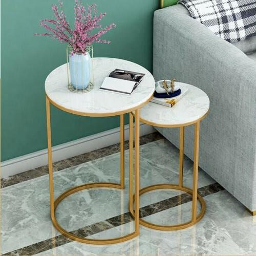Double Marble Table Side Bedside Room