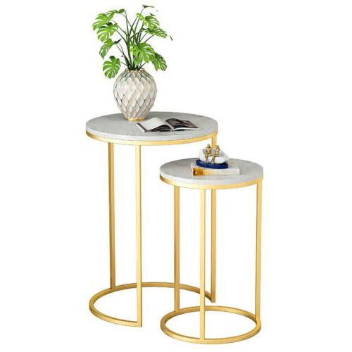 Double Coffee Table Gold Frame Nest Side Bedside Room