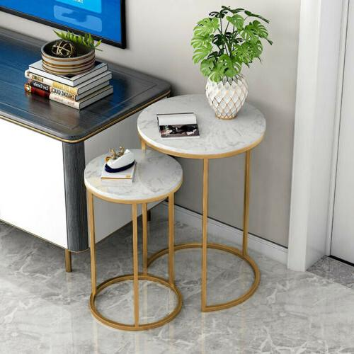 double round marble coffee table gold frame