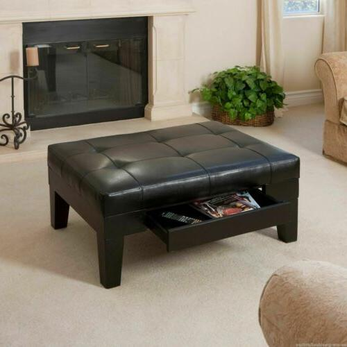 Elegant Tufted Espresso Leather Ottoman Coffee Table w/ Draw