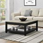 Farmhouse Coffee Table Rustic Square Bottom Storage Black Di