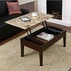 Faux Marble Lift Top Coffee Table Espresso Solid Wood with S