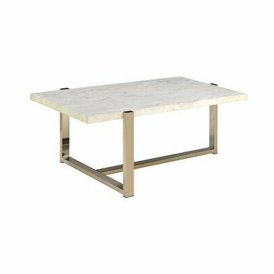 feit coffee table in chrome and white