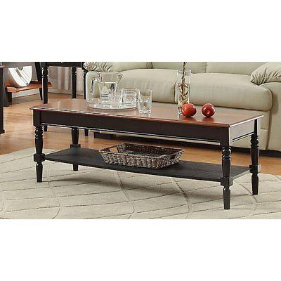 french country rectangle coffee table with shelf