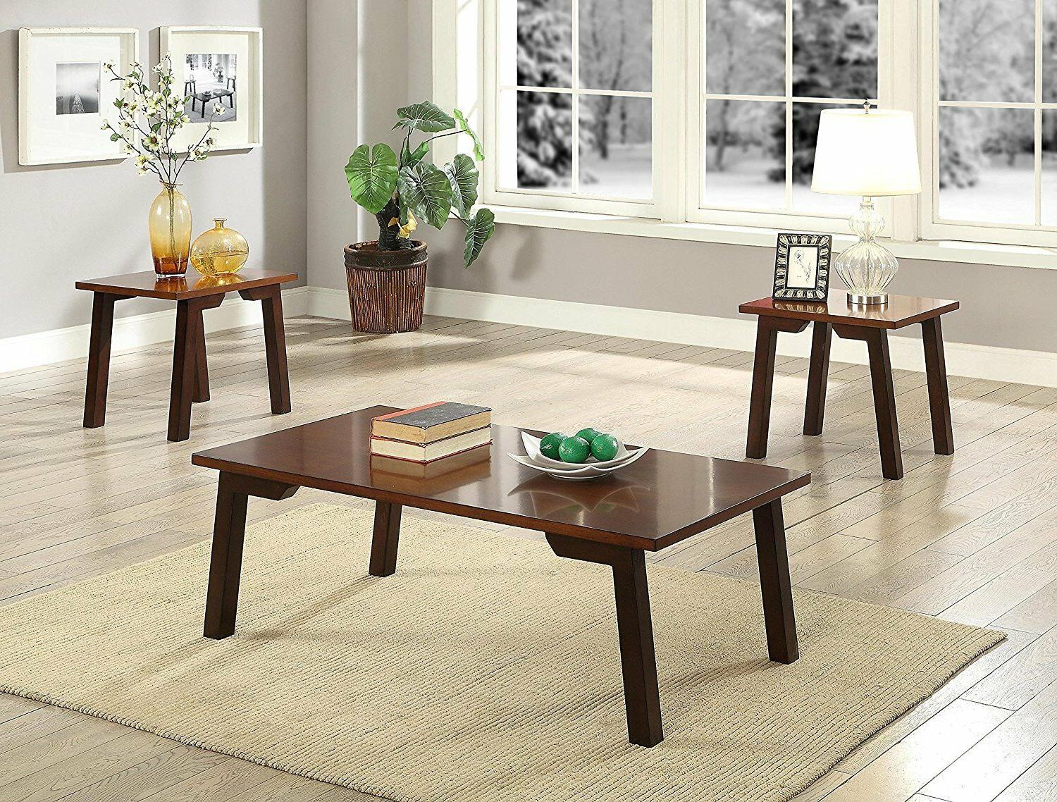 furniture manju walnut 3 piece coffee