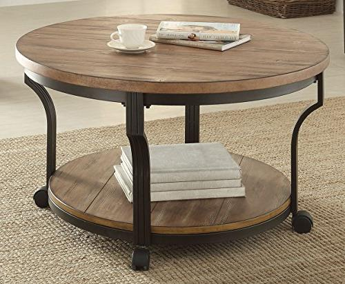 Geoff Oak and Black Coffee Table 80460 New