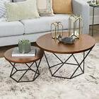 WE Furniture Geometric Wood Nesting Coffee Tables - Walnut/B
