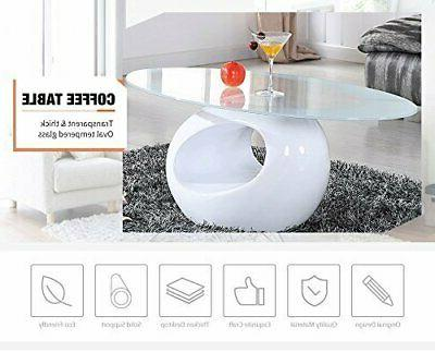 Modern Clear Round Glass Black Coffee Table Side End Table L