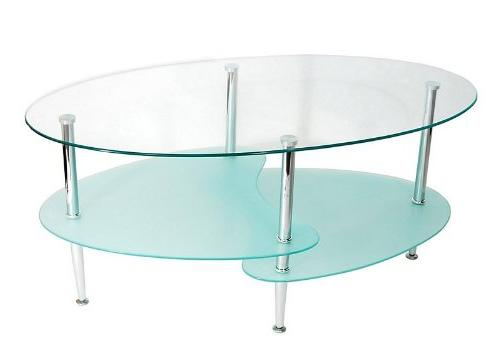 glass oval wave coffee table