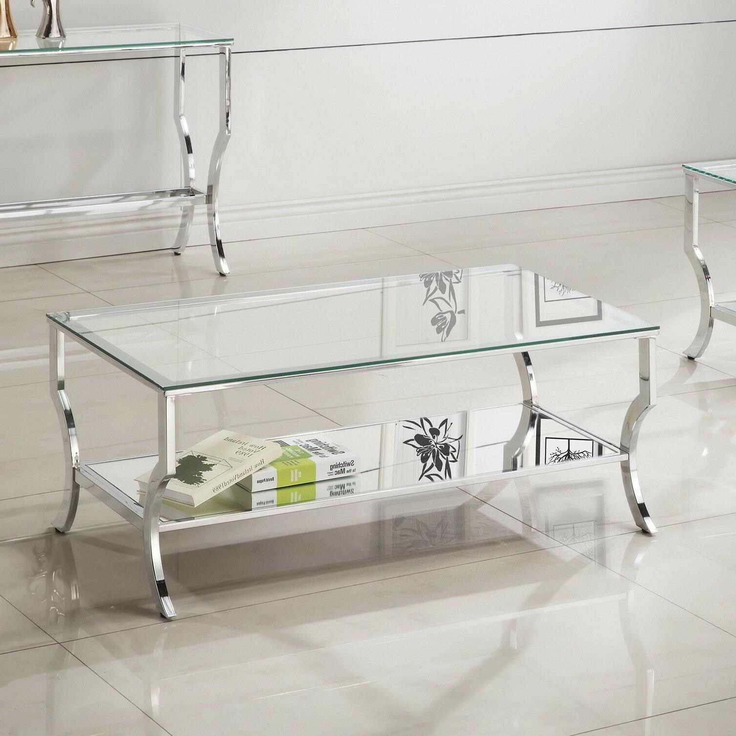 Glass Top Coffee Table Chrome Glam Tempered Cocktail Mirrore