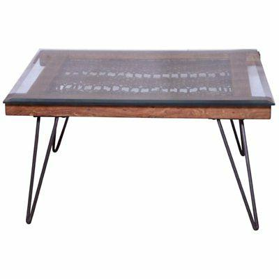 Beaumont Glass Coffee Table in Natural and Gun