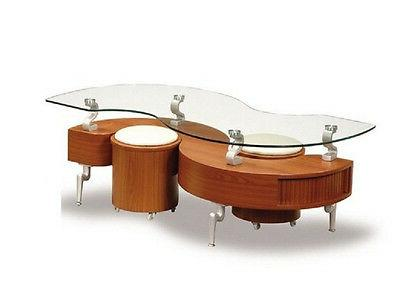glass top contemporary cherry color storage coffee
