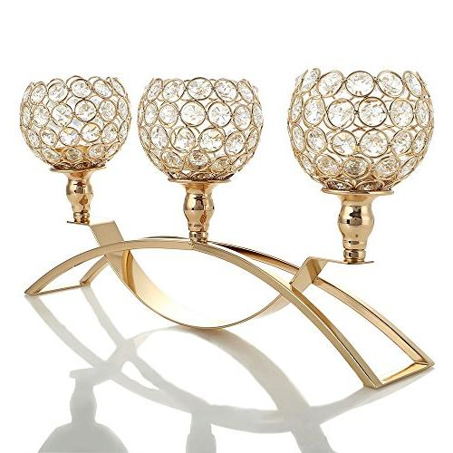 gold crystal candle holders