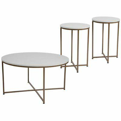 Flash Furniture Hampstead 3 Piece Coffee Table Set in White