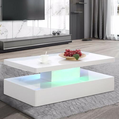 Modern High Gloss White LED Lighting Coffee Table w/Remote C