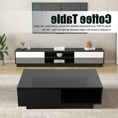 Modern Coffee Table LED RGB With Drawers Storage Living Room