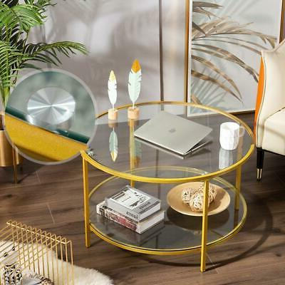 Durable Modern Coffee Table Gold Metal Frame Living Room Hom