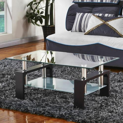 New Black Rectangular Glass Coffee Table Shelf Wood Chrome L