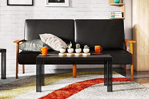 Novogratz Perforated Metal Coffee Table, Modern and Black