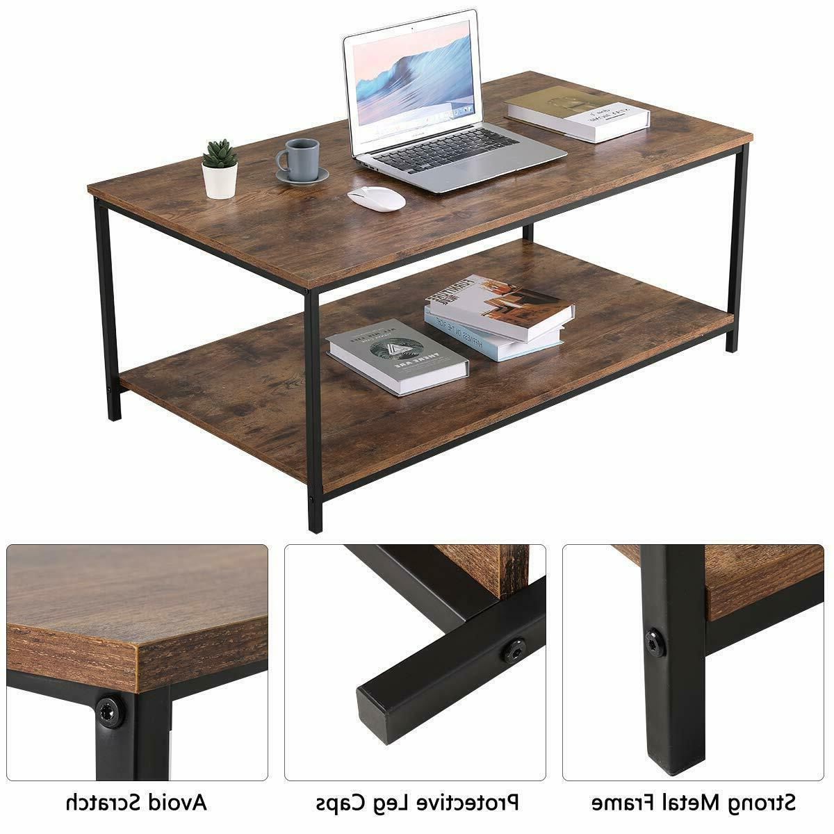 Industrial Coffee Table with Storage Room Wood Rustic