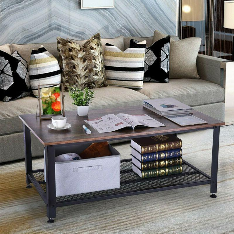 Industrial Accent Coffee with Living Room Wood Brown