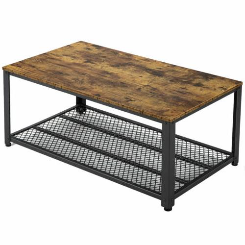 Industrial Accent Coffee Table with Storage Shelf Living Roo