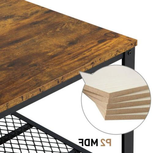 Industrial Accent Coffee Table with Storage Living Room