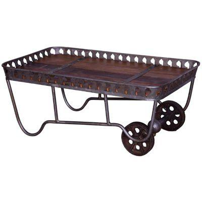 industrial coffee table in natural and gun