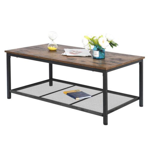 durable coffee table with storage shelf