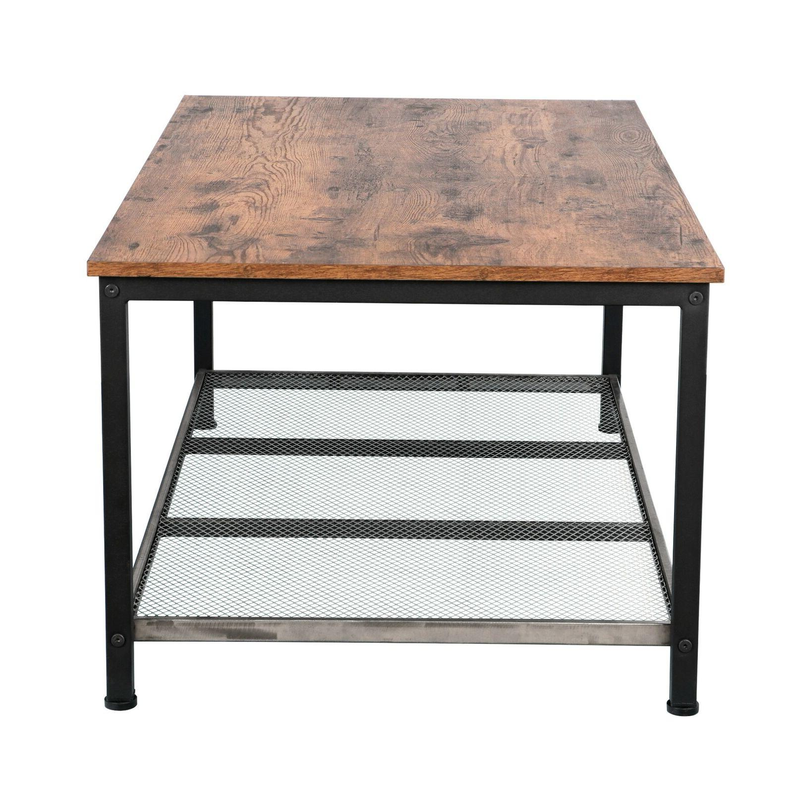 Industrial Coffee Table Storage Shelf For Room Look
