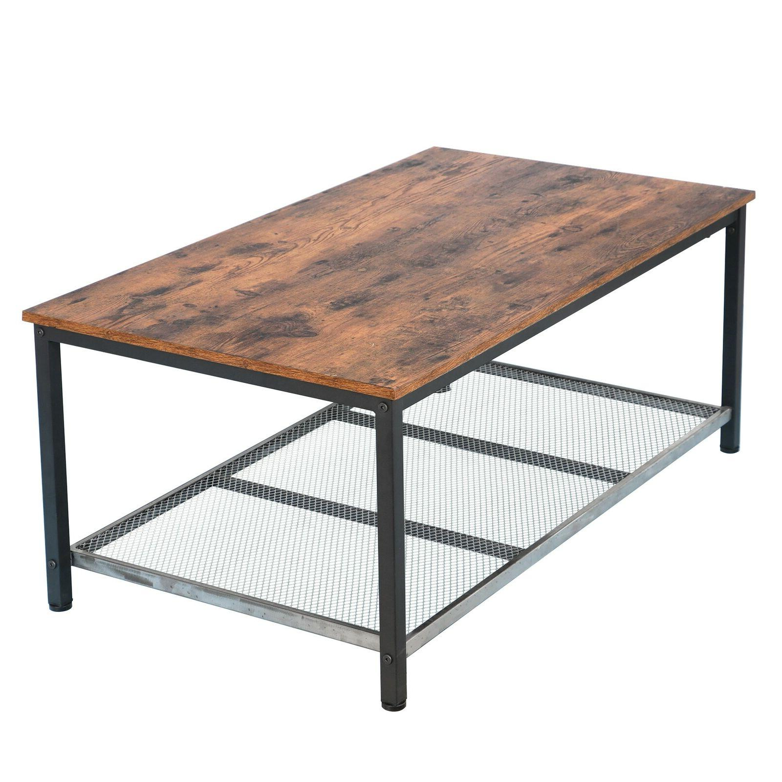 Industrial Coffee Table Storage Shelf For Room