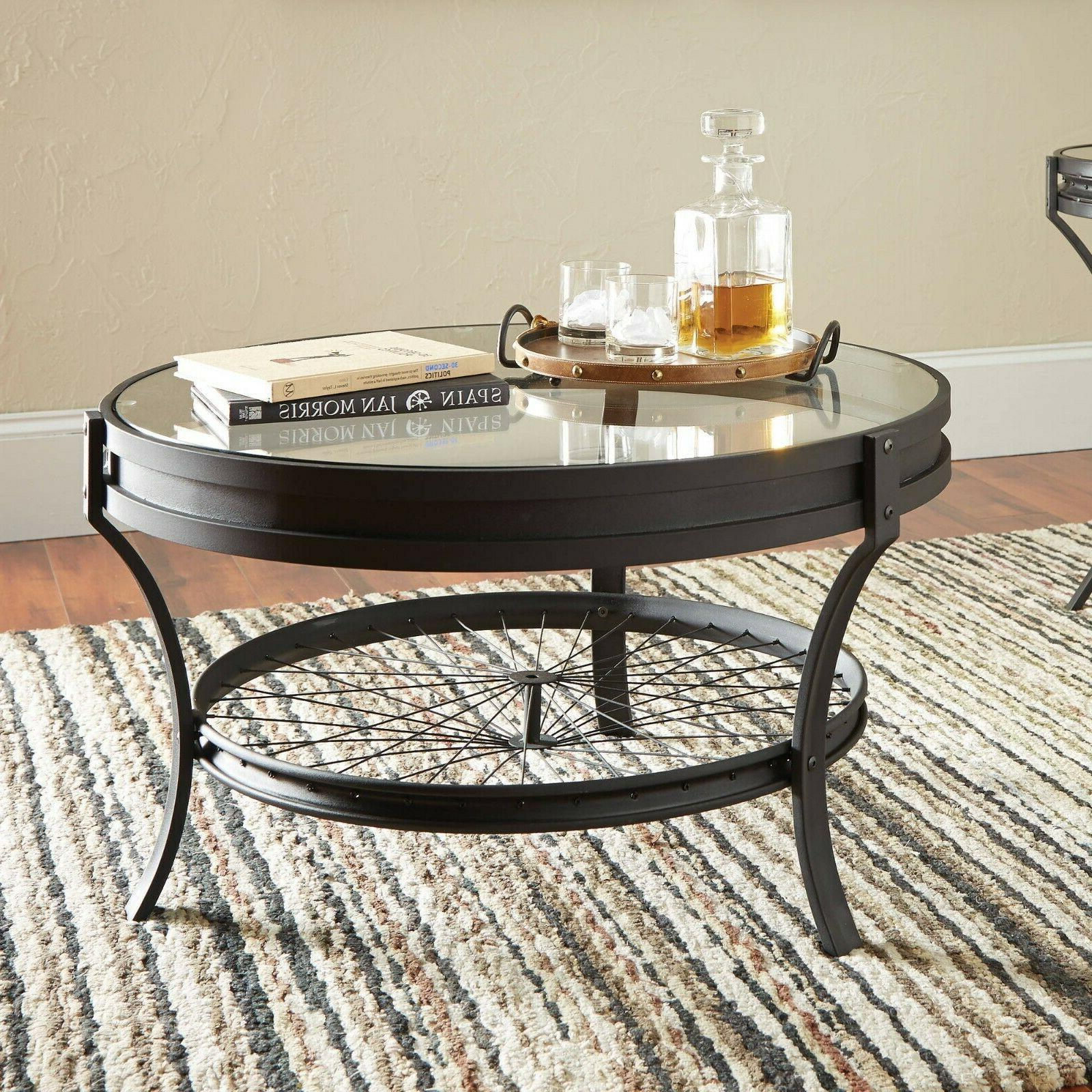 Industrial Round Coffee Table w Lower Shelf Sandy Black Meta