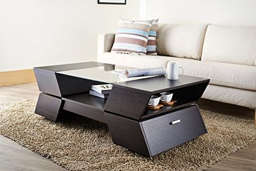 ioHOMES Ultra Modern Glass-Top Table, Espresso