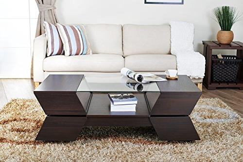 ioHOMES Ultra Modern Glass-Top Coffee Table, Espresso