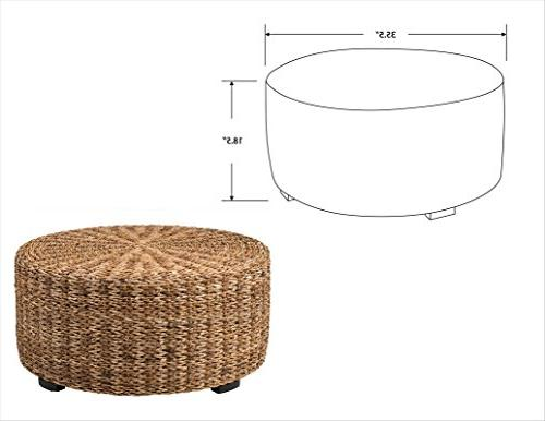 East Brown Round Abaca Table,