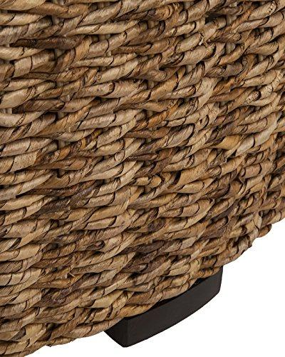 East Brown Round Abaca Coffee Table,