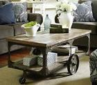 Large Wood Coffee Table Living Room Rolling Cart With Cast I