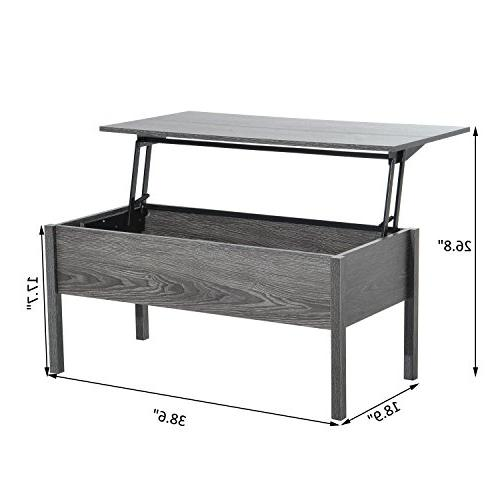 HOMCOM Modern Lift Top Table with Storage Grey